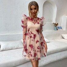 Double Crazy vestido con malla con bordado de mariposa de manga gigot