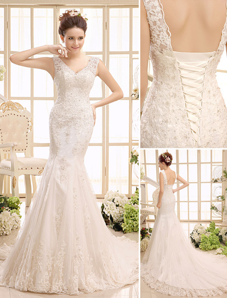 Milanoo Court Train Ivory Bridal Wedding Gown with V-Neck Mermaid Beading
