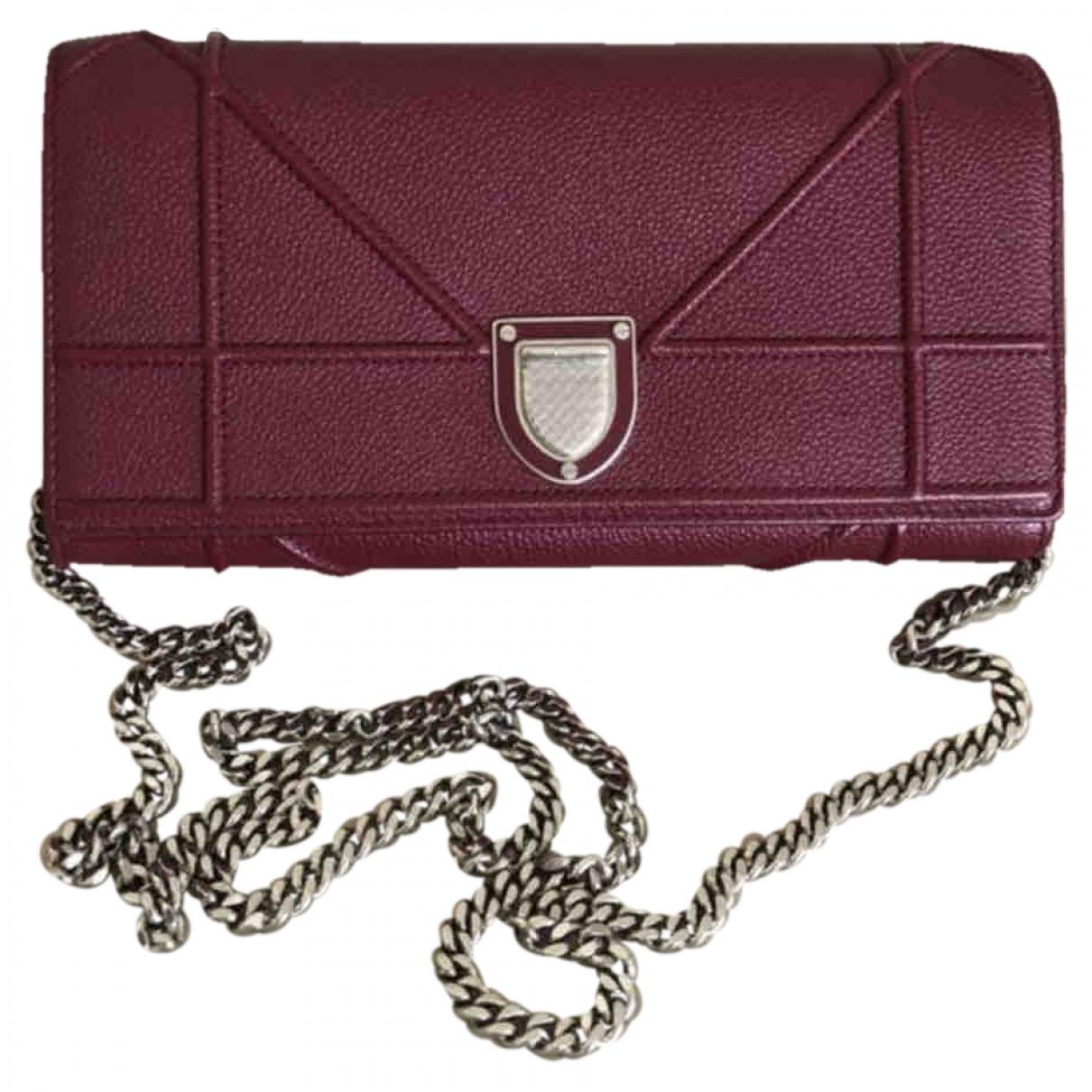 Dior Diorama Burgundy Leather Clutch bag for Women \N