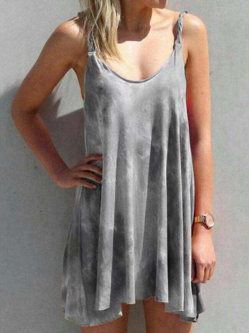 Ericdress Print Scoop Sleeveless Mid Waist Western Dress