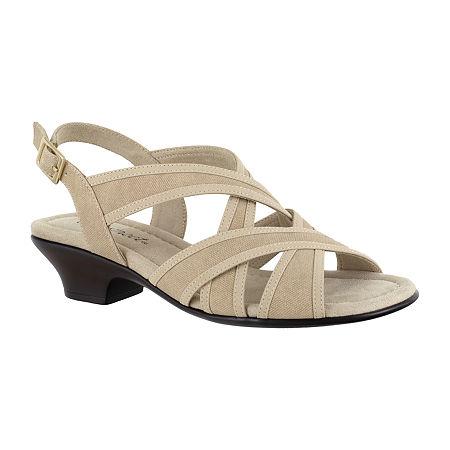 Easy Street Womens Viola Heeled Sandals, 6 Medium, White