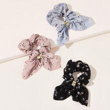 3pcs Ditsy Floral Bow Knot Decor Scrunchie