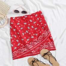 Plus Zip Back Paisley Print Wrap Skirt