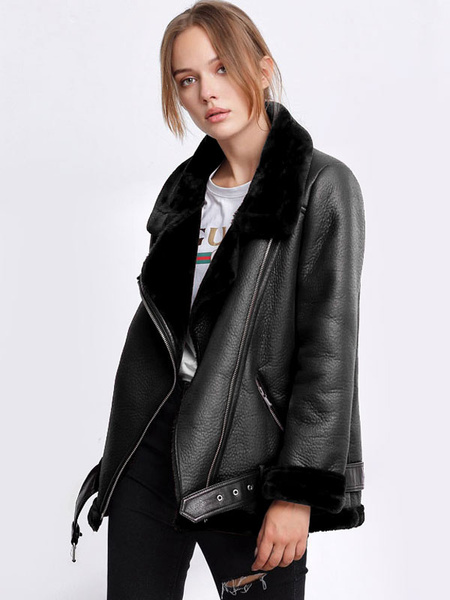 Milanoo Women Moto Jacket Leather Like Faux Shearling Zipper Buckle Biker Jacket
