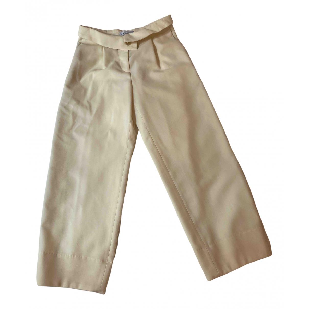 Carven N Ecru Wool Trousers for Women 34 FR