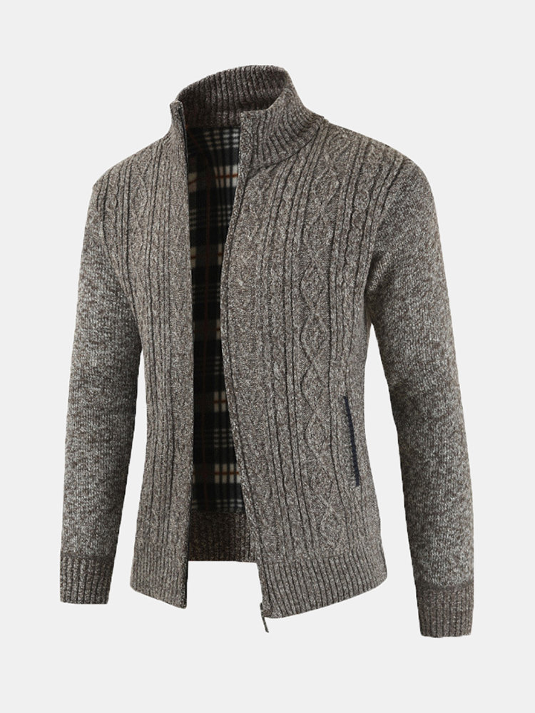 Mens Casual Thicken Knit Breathable Stand Collar Zipper Pockets Warm Cardigan