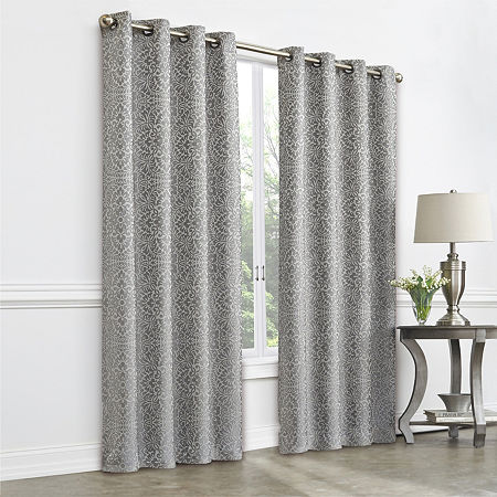 JCPenney Home Plaza Tapestry Blackout Grommet-Top Single Curtain Panel, One Size , Gray