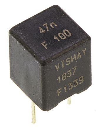 Vishay 47nF Polypropylene Capacitor PP 63 V ac, 100 V dc ±1% Tolerance Through Hole MKP 1837 Series (10)