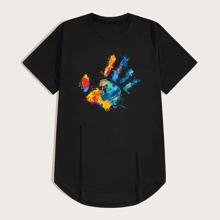 Maenner T-Shirt mit Hand Muster und Stufensaum