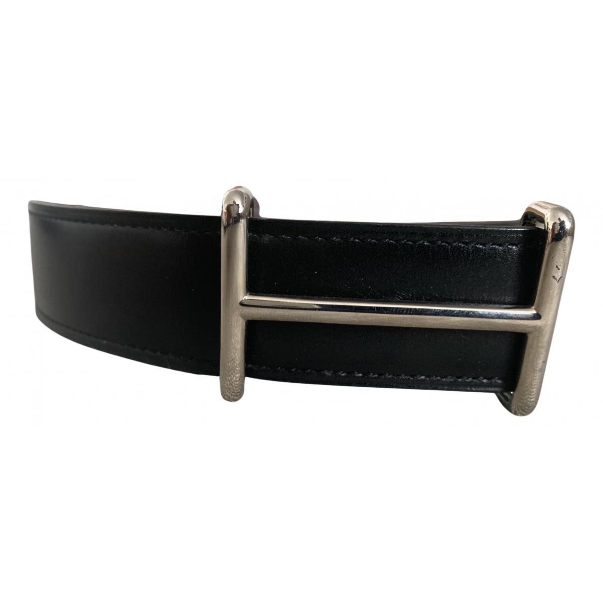 Hermès H Black Leather belt for Men 100 cm