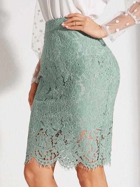 YOINS Green Lace Slit Design High-Waisted Skirt