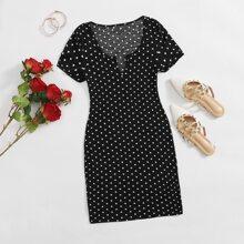 Kleid mit eingekerbtem Kragen und Punkten Muster