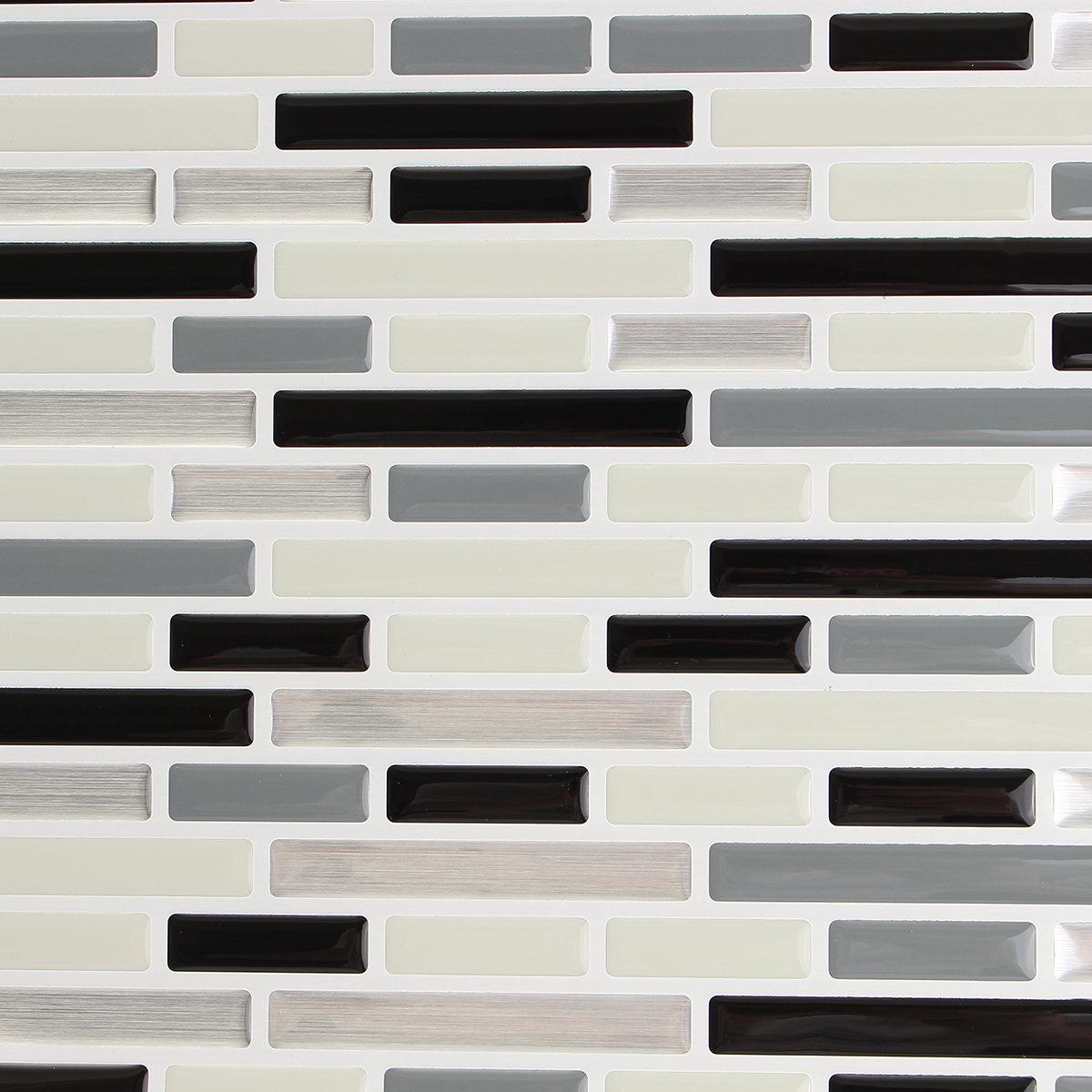 Grey Creative 3D Mosaic Wall Stickers Backsplash Tile Wallpaper Home Bathroom Kitchen Decor
