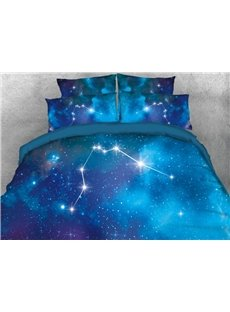 Vivilinen 3D Galaxy Aquarius Printed 4-Piece Bedding Sets/Duvet Covers
