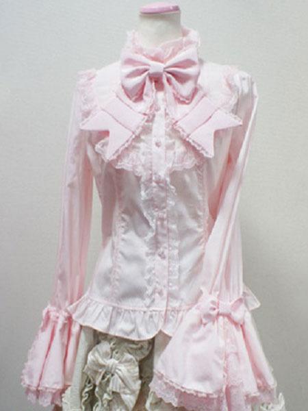 Milanoo Rococo Lolita Blouse Cotton Lace Trim Flare Sleeve Bowknot Ruffles Ecru White Lolita Top