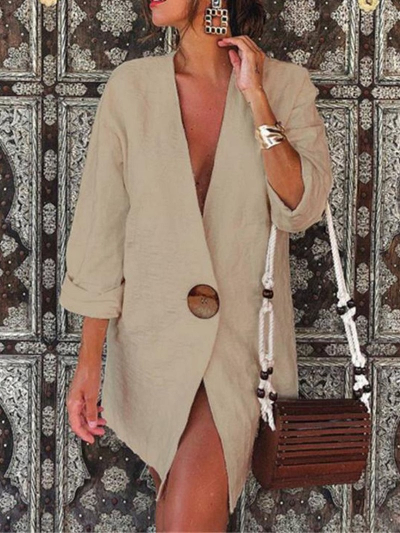 Ericdress One Button Plain Long Sleeve Mid-Length Casual Blazer