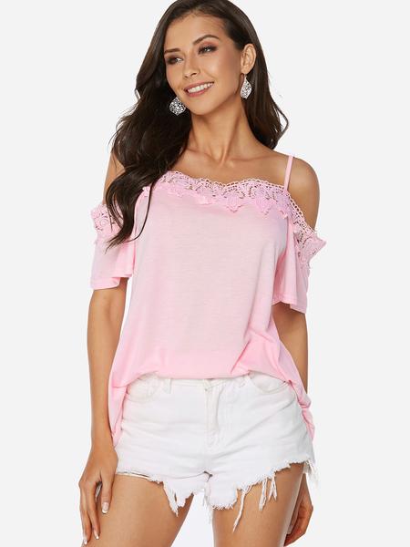 Yoins Pink Lace Trim Plain Cold Shoulder Half Sleeves Blouse
