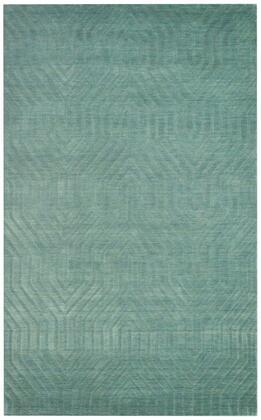 TECTC8577AA000508 Technique TC8577-5' x 8' Hand-Loomed 100% Wool Rug in Aqua  Rectangle