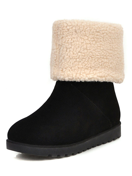 Milanoo Womens Xmas Snow Boots Round Toe Flat Mid Calf Boots