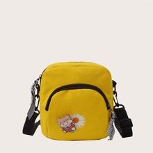 Daisy Embroidery & Cartoon Girl Crossbody Bag