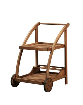 21153T36-01-KD-U Catalan Collection Trolley with Acacia Wood Frame in Teak Finish