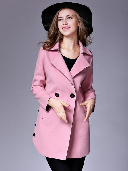 Milanoo Women Red Peacoat Long Sleeve Button Turndown Collar Woolen Winter Overcoat