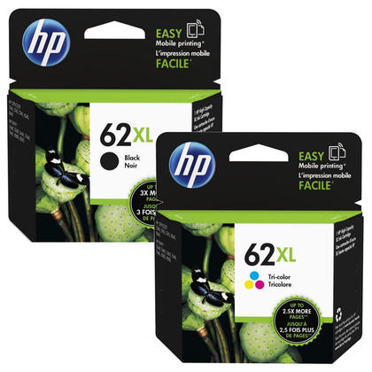 HP 62XL Original Black and Tri-color Ink Cartridge Combo