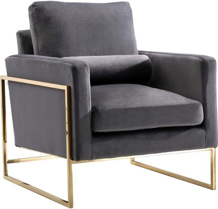 Mila 678Grey-C Chair with Velvet Upholstery  Gold Stainless Steel Base and Throw Pillows in