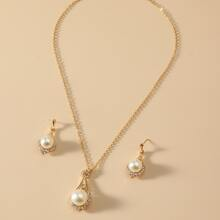 3pcs Faux Pearl Decor Jewelry Set