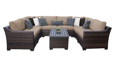 RIVER-09c-WHEAT Kathy Ireland Homes and Gardens River Brook 9-Piece Wicker Patio Set 09c - 1 Set of Truffle and 1 Set of Toffee