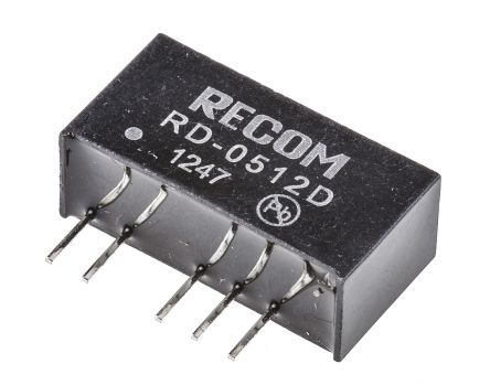 Recom RD 2W Isolated DC-DC Converter Through Hole, Voltage in 4.5 → 5.5 V dc, Voltage out ±12V dc