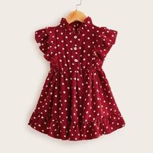 Toddler Girls Polka Dot Ruffle Trim A-line Dress