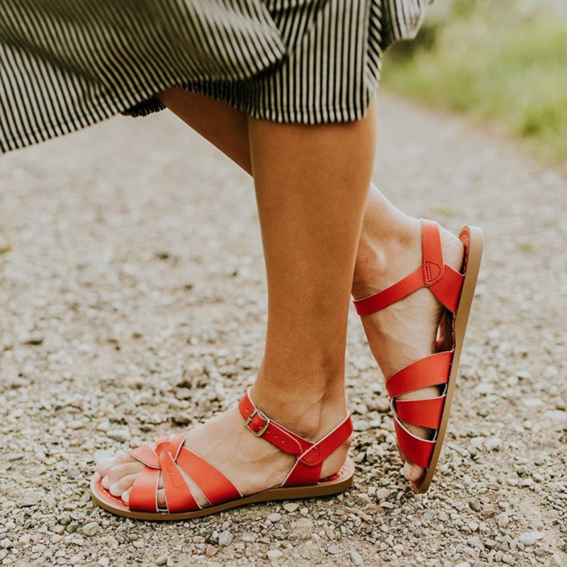 Ericdress Buckle Round Toe Flat With Plain Sandals