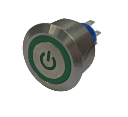 RS PRO Double Pole Double Throw (DPDT) Green LED Push Button Switch, IP67, 25.2 (Dia.)mm, Panel Mount, Power Symbol, (20)