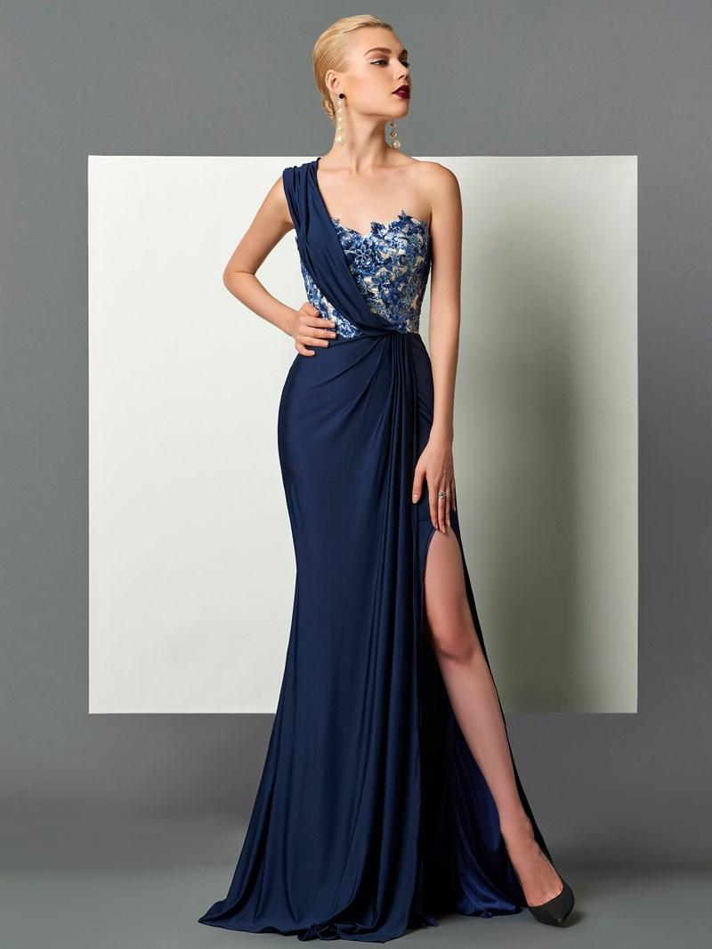Ericdress Sheath One Shoulder Lace Applique Side Slit Evening Dress