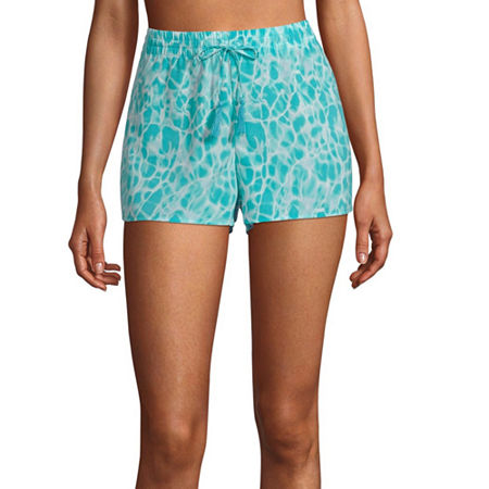 City Streets Tie Dye Shorts Swimsuit Cover-Up Juniors, Small , Blue