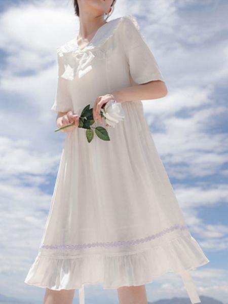 Milanoo Vestido Sweet Lolita OP Vestidos blancos de una pieza de Lolita de manga corta