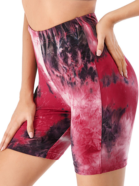 Milanoo Woman\s Leggings Cozy Polyester Tie Dye Drawstring Elastic Waist Casual Short Pants