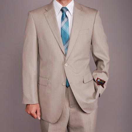 2 Button Sand Herringbone Suit Mens Cheap