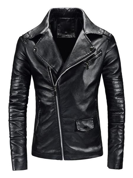 Milanoo Men Leather Jacket Zipper Surplice Metallic Air Force PU Motorcycle Jacket