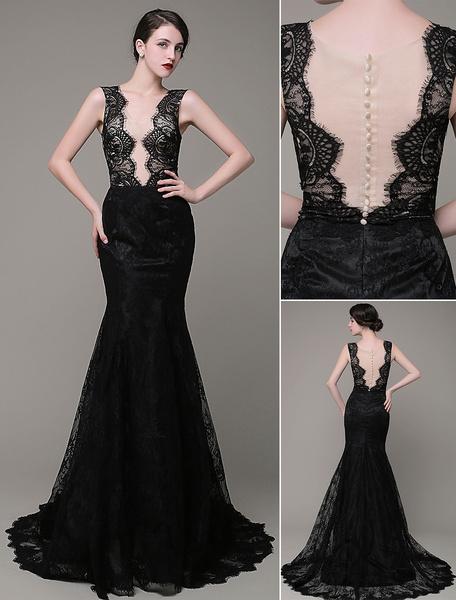 Milanoo Sirena Vestido de noche encaje ilusion Backless Vestido fiesta vestido