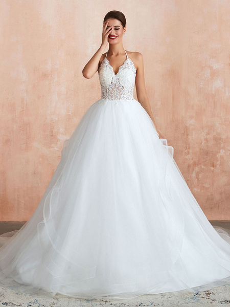 Milanoo Wedding Dress 2020 Ball Gown Halter Sleeveless Floor Length Lace Tulle Bridal Gowns With Train
