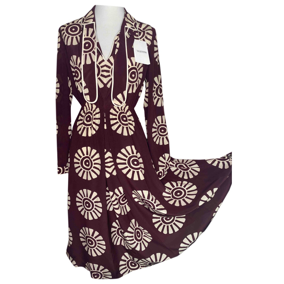 Valentino Garavani N Burgundy Silk dress for Women 44 IT