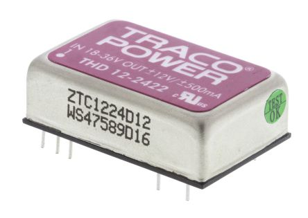 TRACOPOWER THD 12 12W Isolated DC-DC Converter Through Hole, Voltage in 18 → 36 V dc, Voltage out ±12V dc