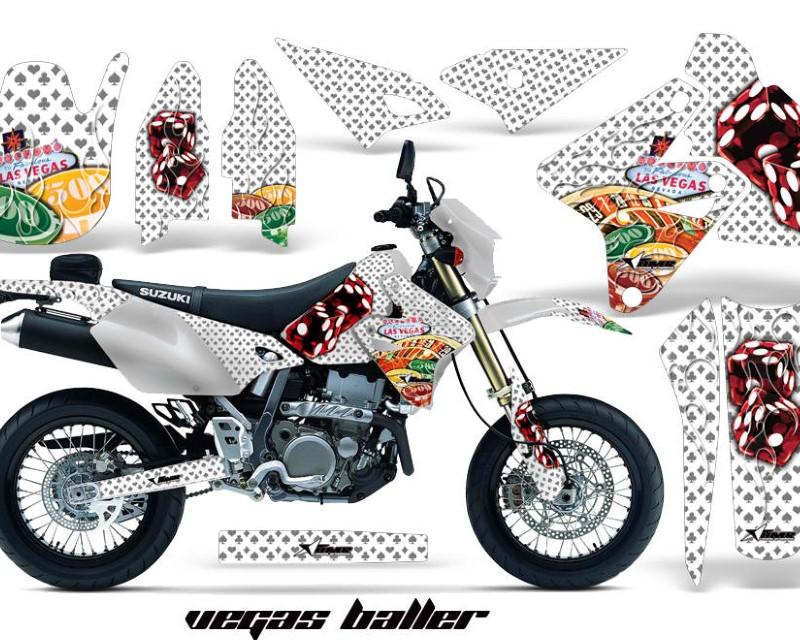 AMR Racing Dirt Bike Graphics Kit Decal Sticker Wrap For Suzuki DRZ400SM 2000-2018áVEGAS WHITE