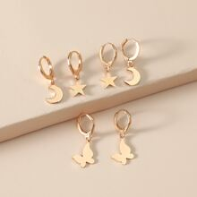 3pairs Star & Butterfly Charm Drop Earrings
