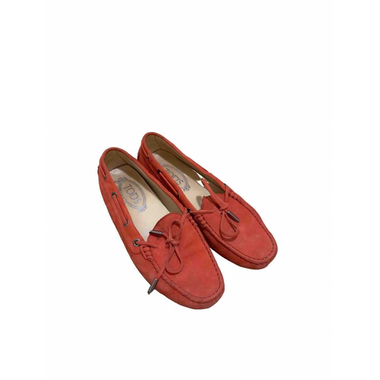 Tod's Gommino Red Suede Flats for Women 37 EU