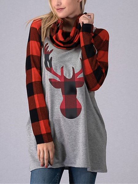 Yoins Color Block Check Christmas Print Cowl Neck Sweatshirt