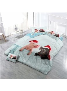 Piggies Wearing Christmas Hats Wear-resistant Breathable High Quality 60s Cotton 4-Piece 3D Bedding Sets