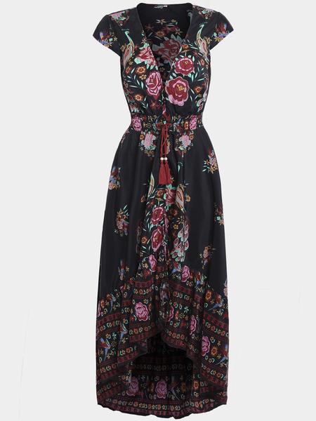 Yoins Black Self-tie Design Random Floral Print V-neck Cap Sleeves Maix Dress